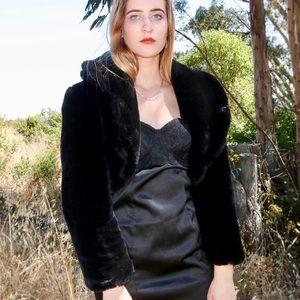 Vintage Black Cropped Fur Coat